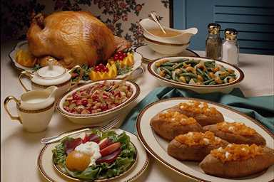 Picture of Thanksgiving dinner laid out on a long table.