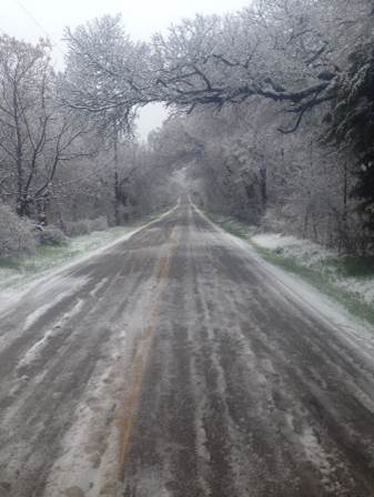 Stretch of Road with Snow and Ice