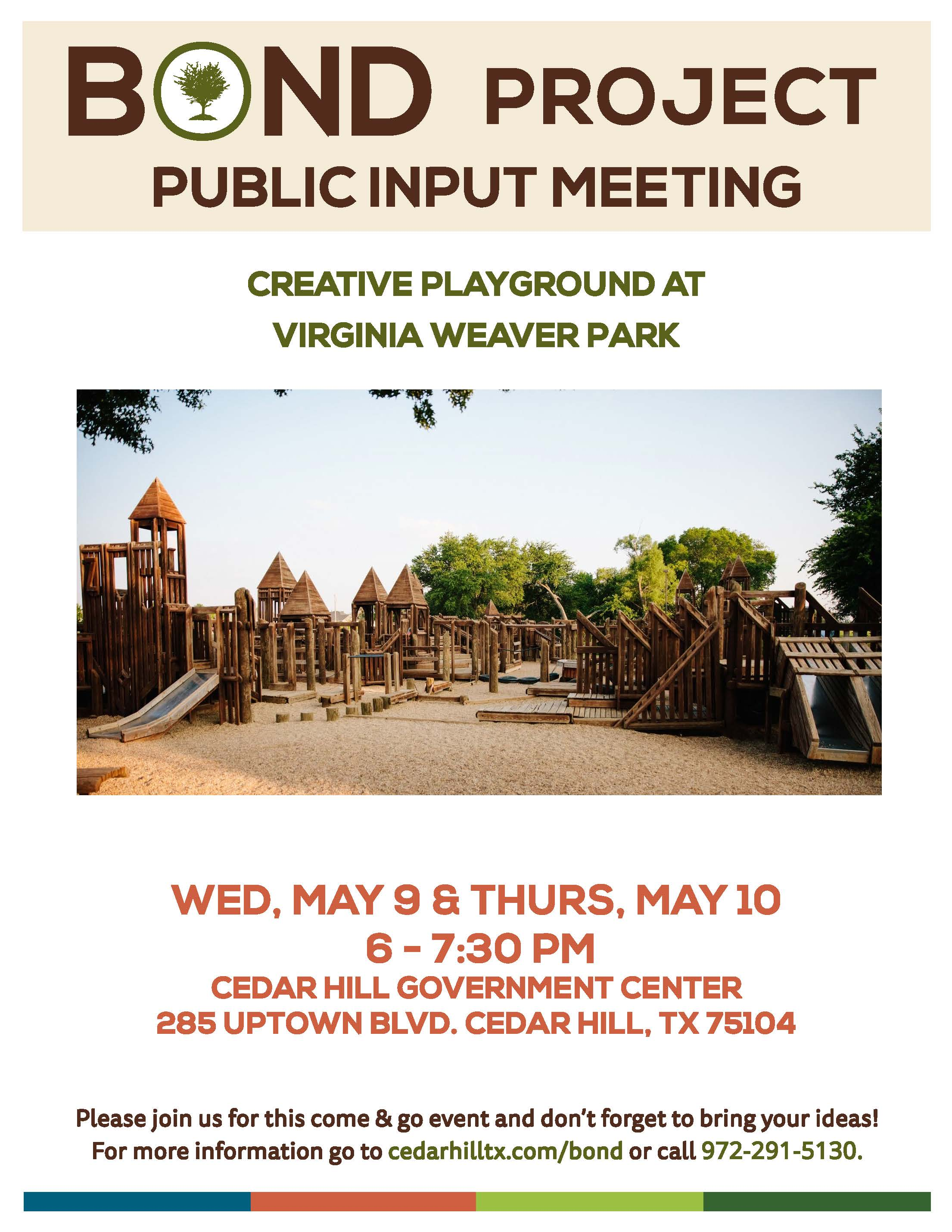 Public Input Meeting for Creative Playground on May 9 and 10 from 6 to 7:30 p.m. at the Cedar Hill G